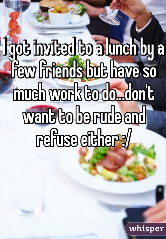 I got invited to a lunch by a few friends but have so much work to do...don't want to be rude and refuse either :/