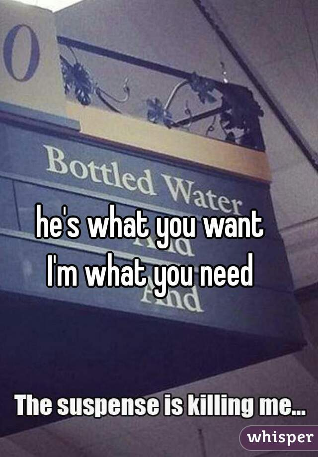 he's what you want I'm what you need