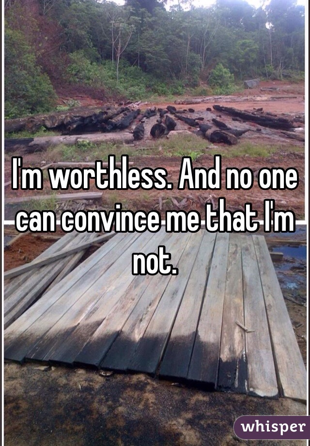 I'm worthless. And no one can convince me that I'm not.