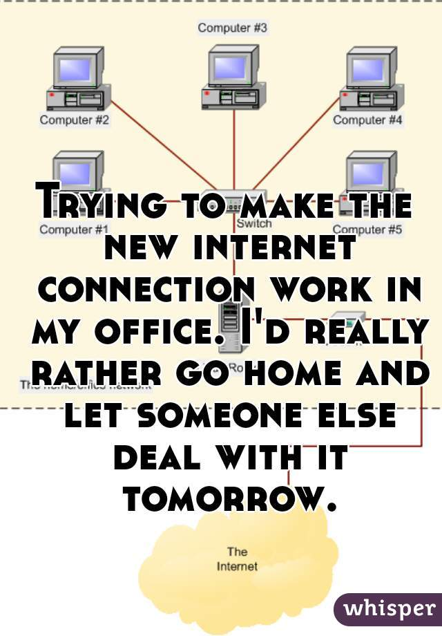 Trying to make the new internet connection work in my office. I'd really rather go home and let someone else deal with it tomorrow.