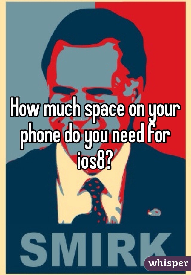 How much space on your phone do you need for ios8?