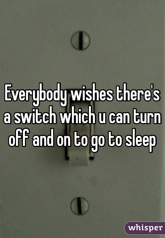 Everybody wishes there's a switch which u can turn off and on to go to sleep