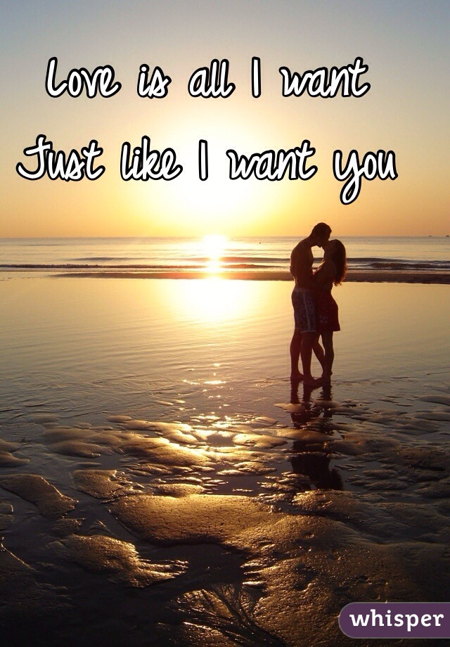 Love is all I want  Just like I want you