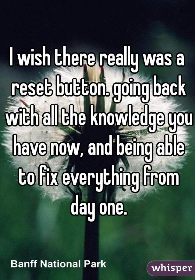 I wish there really was a reset button. going back with all the knowledge you have now, and being able to fix everything from day one.