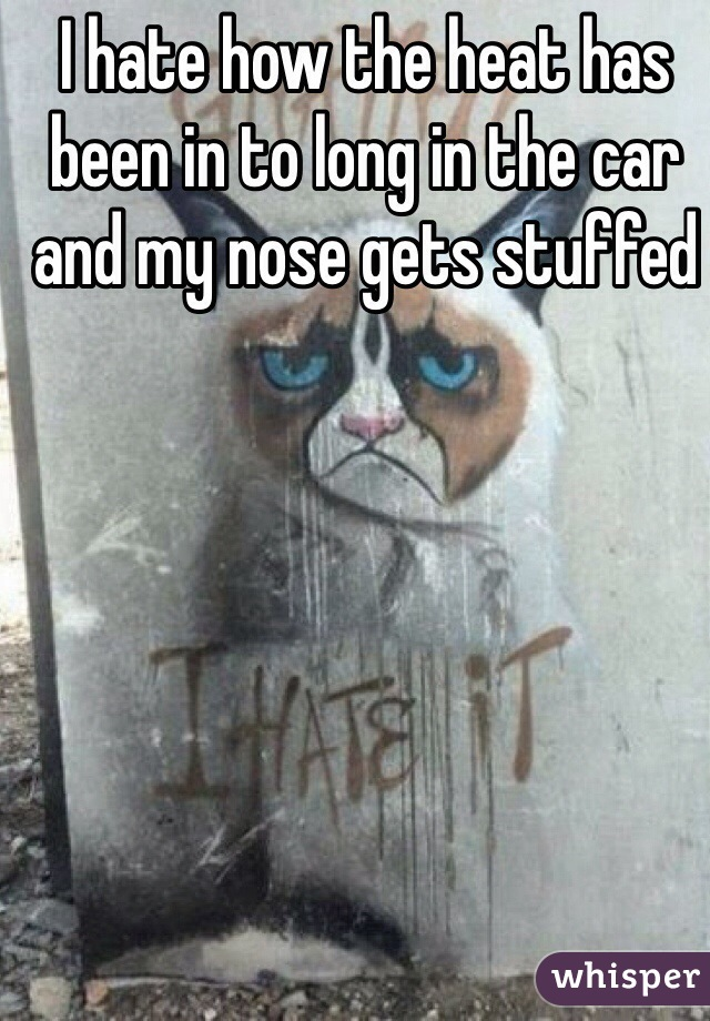 I hate how the heat has been in to long in the car and my nose gets stuffed