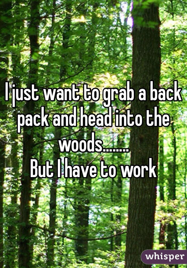 I just want to grab a back pack and head into the woods........  But I have to work