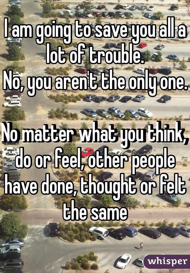 I am going to save you all a lot of trouble.  No, you aren't the only one.   No matter what you think, do or feel, other people have done, thought or felt the same