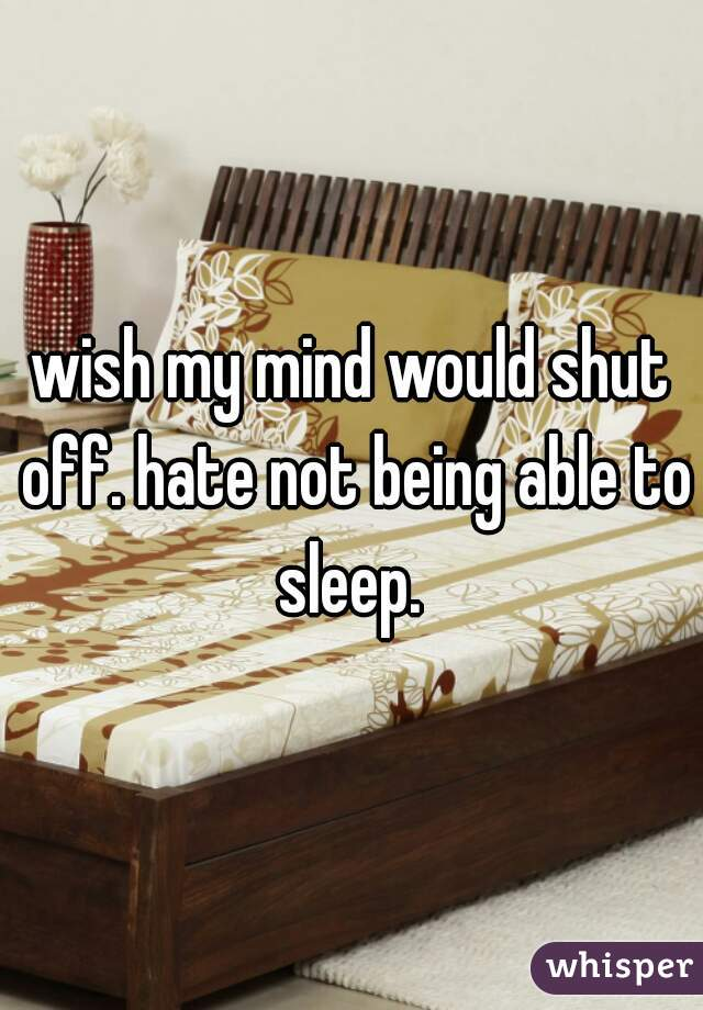 wish my mind would shut off. hate not being able to sleep.