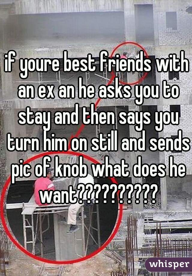 if youre best friends with an ex an he asks you to stay and then says you turn him on still and sends pic of knob what does he want??????????