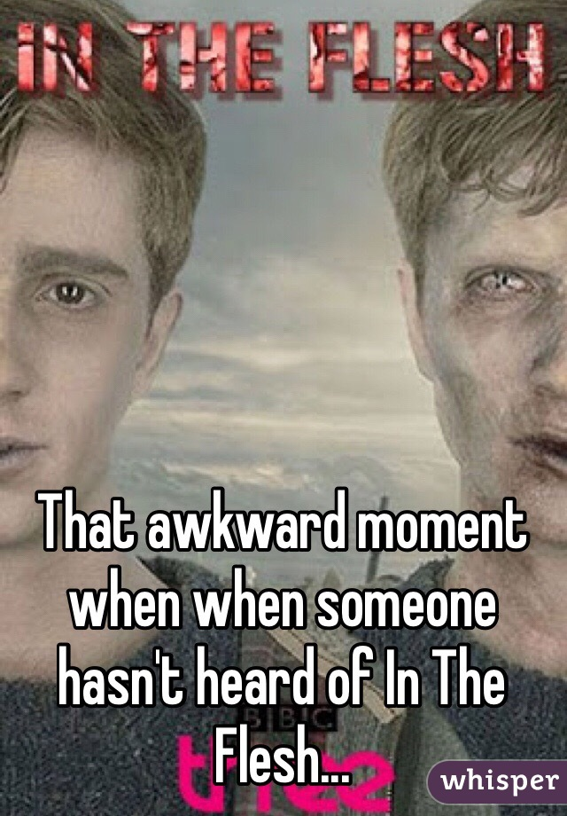 That awkward moment when when someone hasn't heard of In The Flesh...