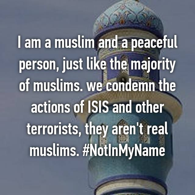 I am a muslim and a peaceful person, just like the majority of muslims. we condemn the actions of ISIS and other terrorists, they aren't real muslims. #NotInMyName