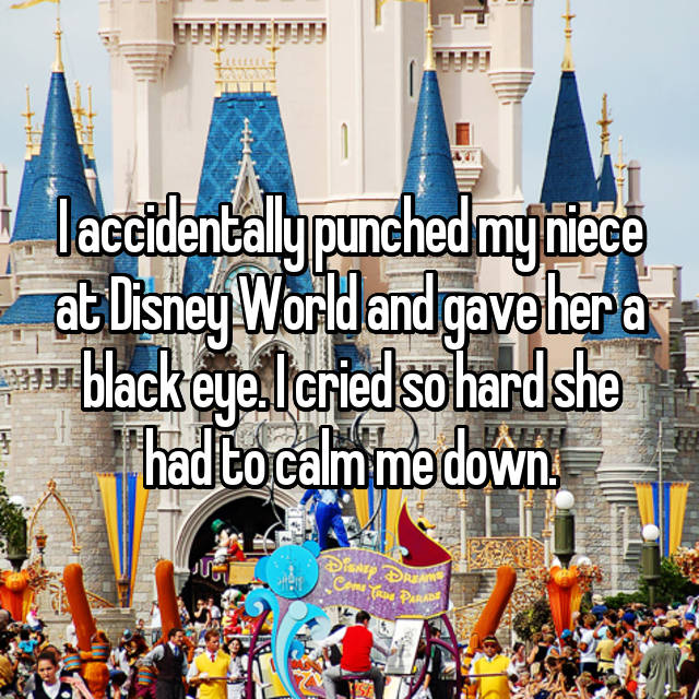 I accidentally punched my niece at Disney World and gave her a black eye. I cried so hard she had to calm me down.