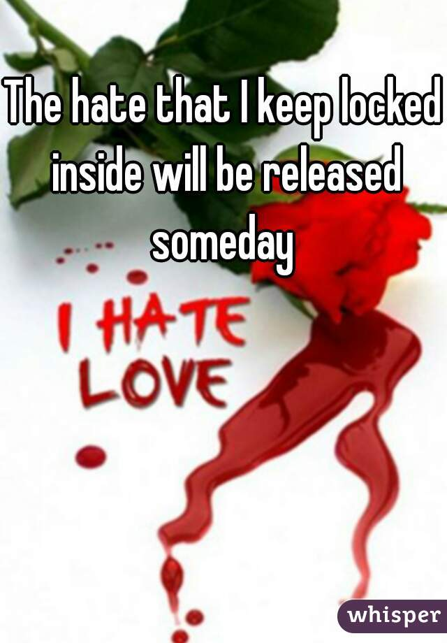 The hate that I keep locked inside will be released someday