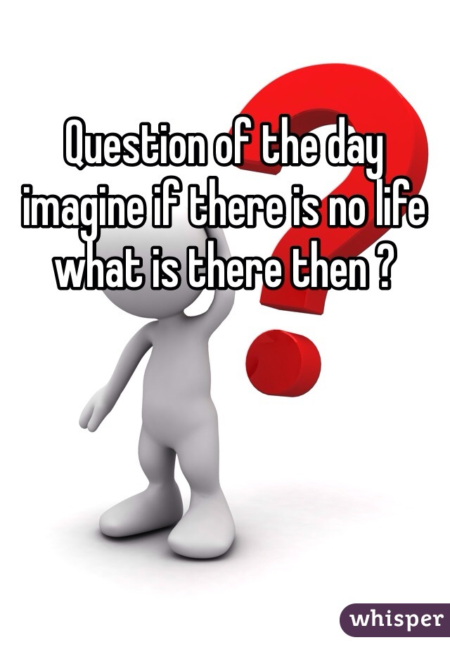 Question of the day imagine if there is no life what is there then ?