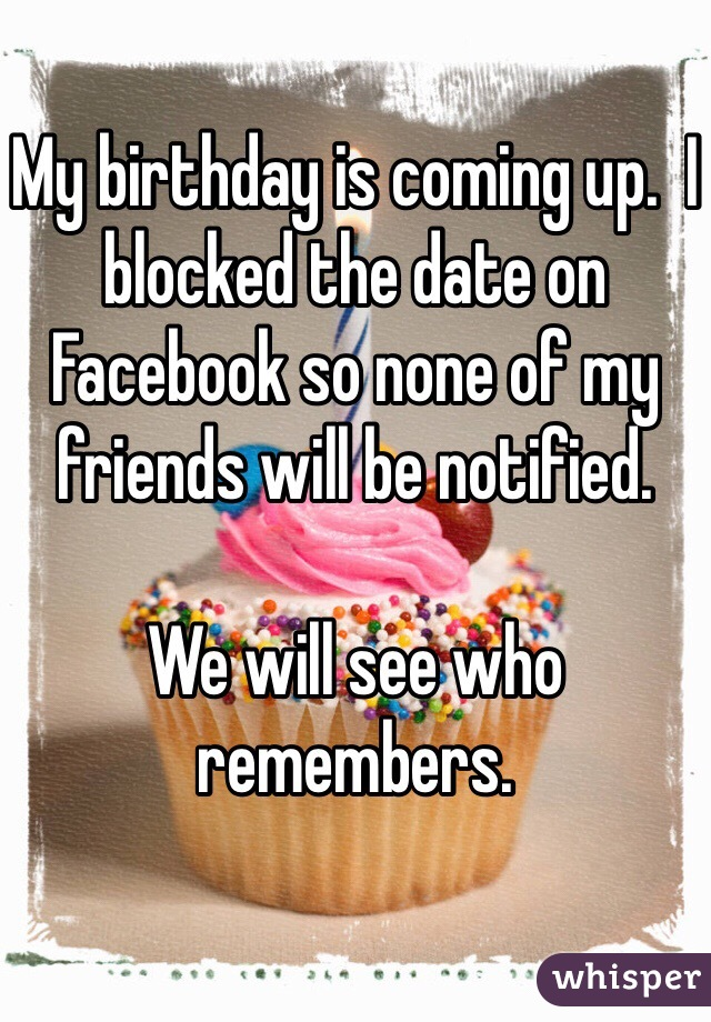 My birthday is coming up.  I blocked the date on Facebook so none of my friends will be notified.  We will see who remembers.