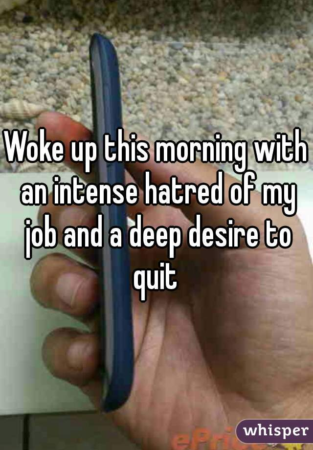 Woke up this morning with an intense hatred of my job and a deep desire to quit
