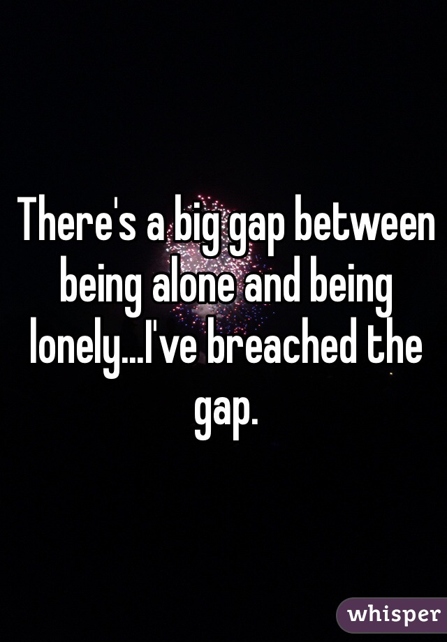There's a big gap between being alone and being lonely...I've breached the gap.
