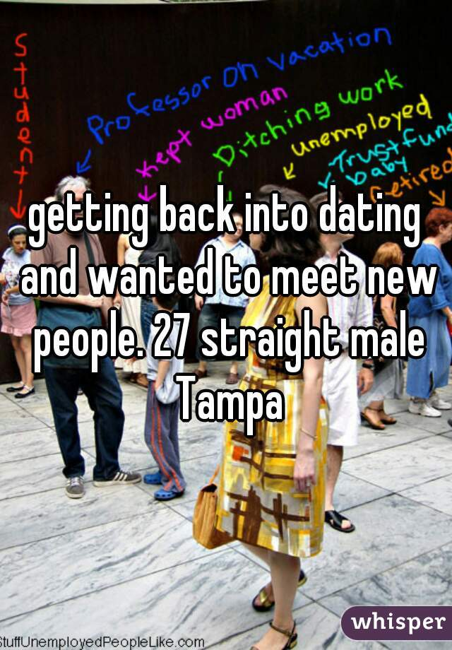 getting back into dating and wanted to meet new people. 27 straight male Tampa