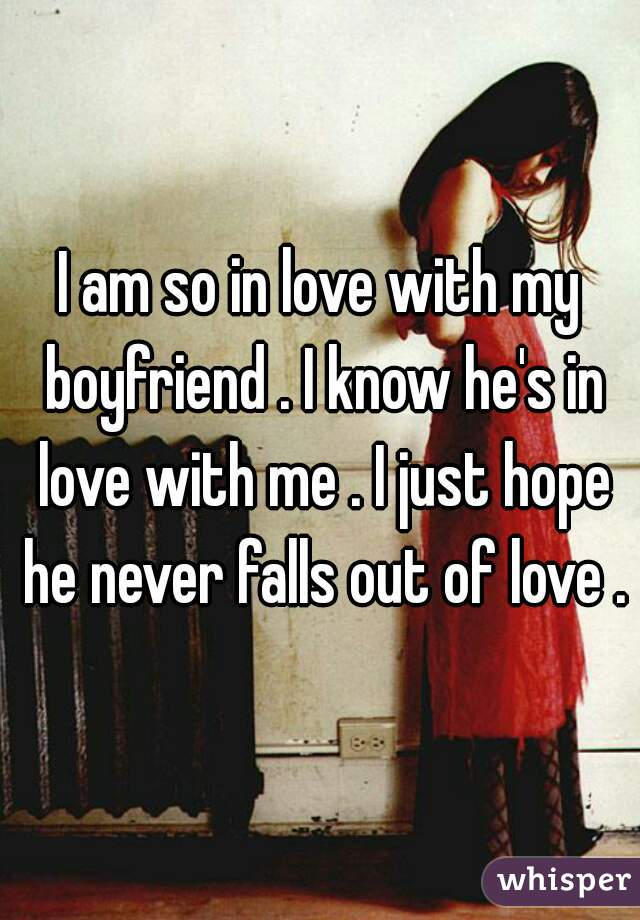 I am so in love with my boyfriend . I know he's in love with me . I just hope he never falls out of love .