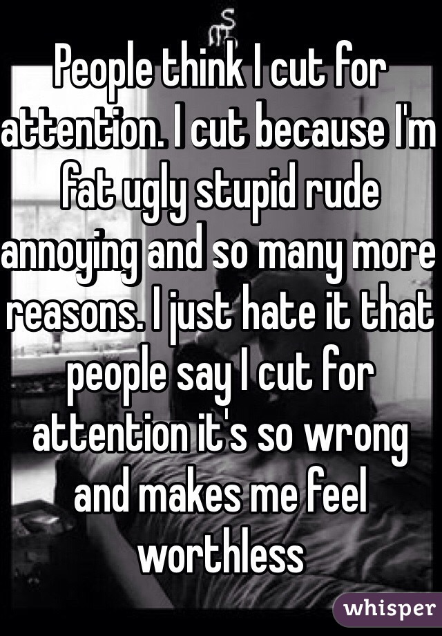 People think I cut for attention. I cut because I'm fat ugly stupid rude annoying and so many more reasons. I just hate it that people say I cut for attention it's so wrong and makes me feel worthless