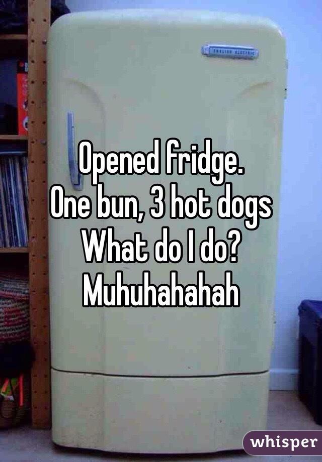 Opened fridge. One bun, 3 hot dogs What do I do? Muhuhahahah