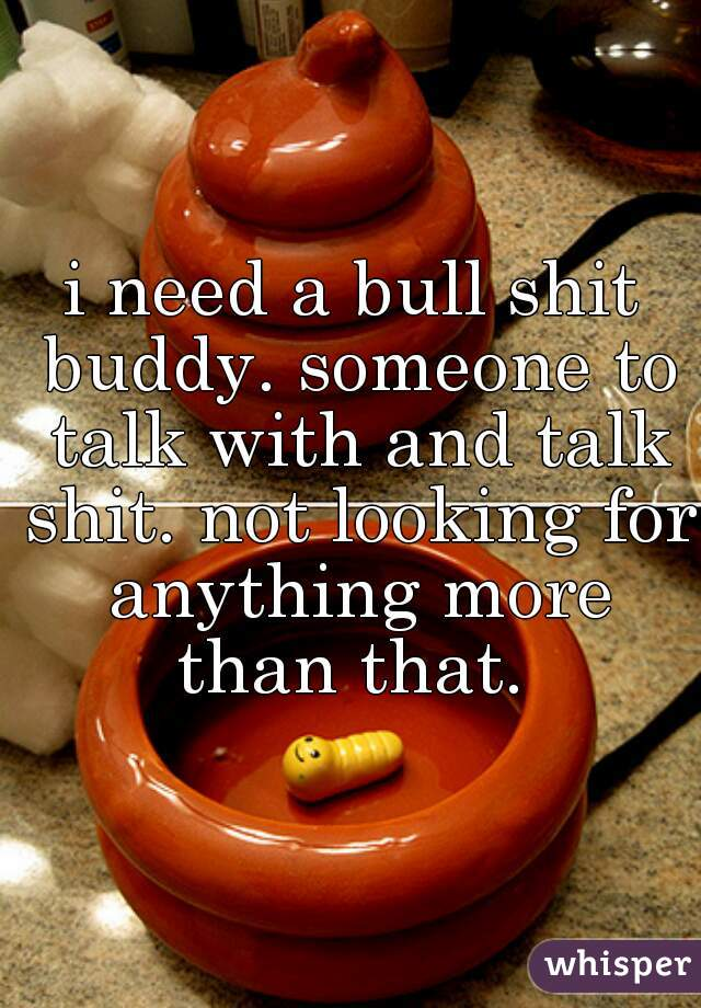 i need a bull shit buddy. someone to talk with and talk shit. not looking for anything more than that.