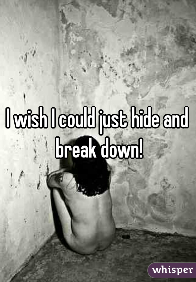 I wish I could just hide and break down!