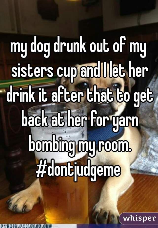 my dog drunk out of my sisters cup and I let her drink it after that to get back at her for yarn bombing my room.  #dontjudgeme