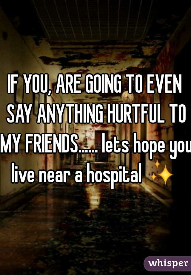 IF YOU, ARE GOING TO EVEN SAY ANYTHING HURTFUL TO MY FRIENDS...... lets hope you live near a hospital ✨