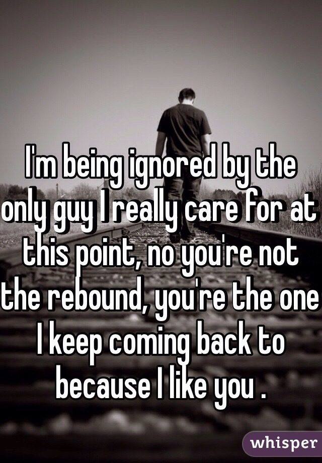 I'm being ignored by the only guy I really care for at this point, no you're not the rebound, you're the one I keep coming back to because I like you .