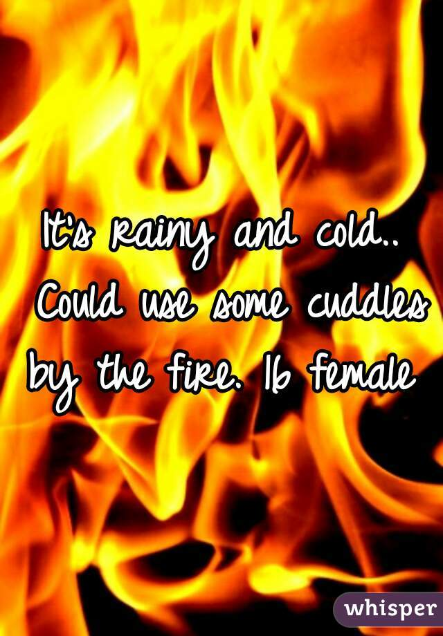 It's rainy and cold.. Could use some cuddles by the fire. 16 female
