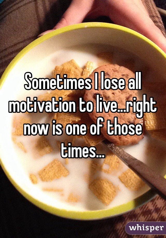 Sometimes I lose all motivation to live...right now is one of those times...