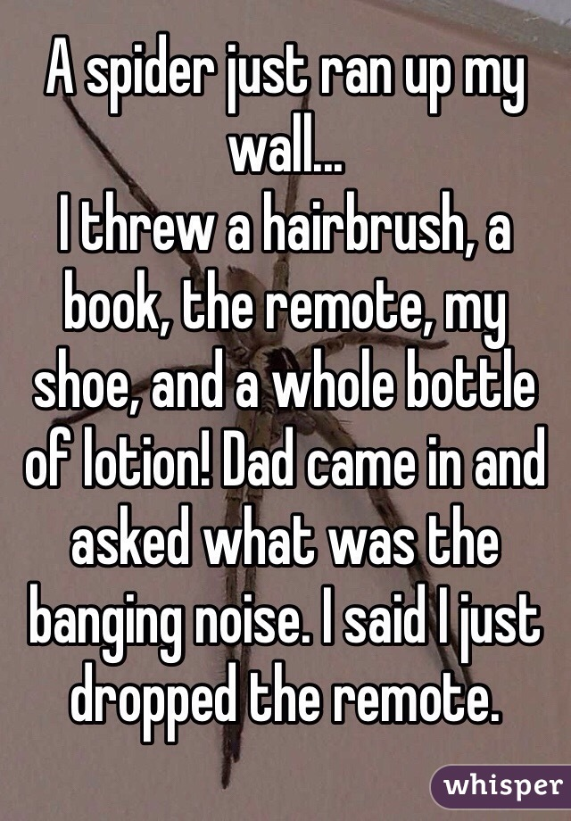 A spider just ran up my wall... I threw a hairbrush, a book, the remote, my shoe, and a whole bottle of lotion! Dad came in and asked what was the banging noise. I said I just dropped the remote.