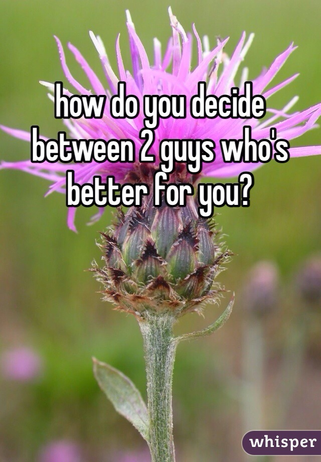 how do you decide between 2 guys who's better for you?