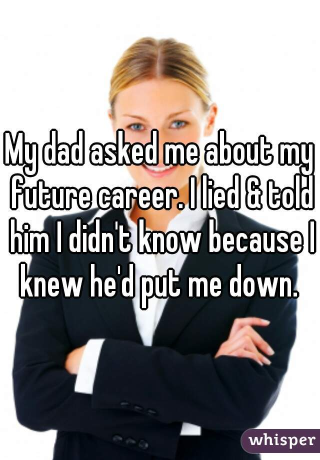 My dad asked me about my future career. I lied & told him I didn't know because I knew he'd put me down.