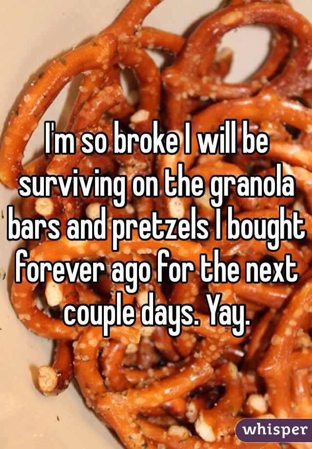 I'm so broke I will be surviving on the granola bars and pretzels I bought forever ago for the next couple days. Yay.