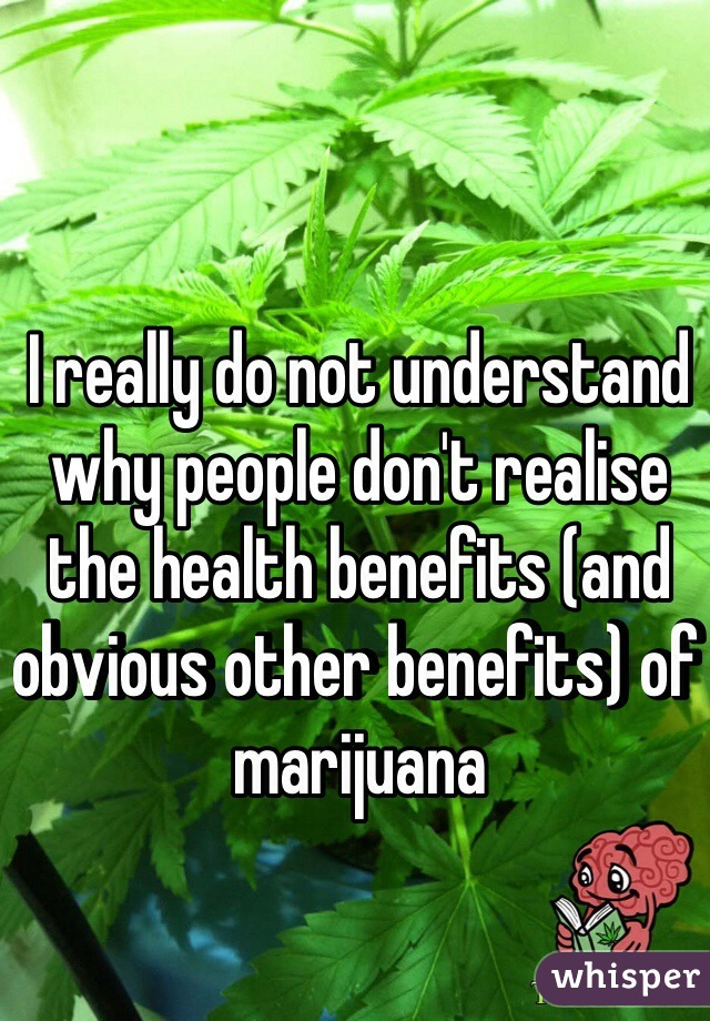 I really do not understand why people don't realise the health benefits (and obvious other benefits) of marijuana