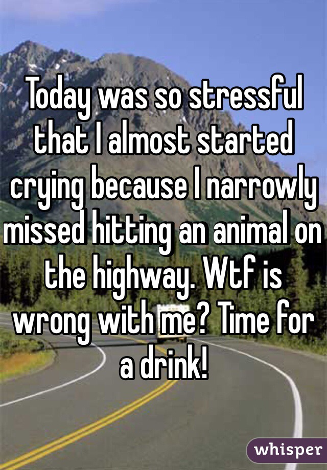 Today was so stressful that I almost started crying because I narrowly missed hitting an animal on the highway. Wtf is wrong with me? Time for a drink!