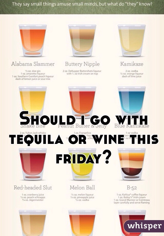 Should i go with tequila or wine this friday?