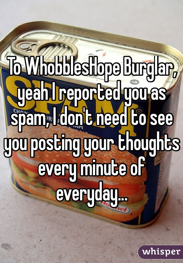 To WhobblesHope Burglar, yeah I reported you as spam, I don't need to see you posting your thoughts every minute of everyday...