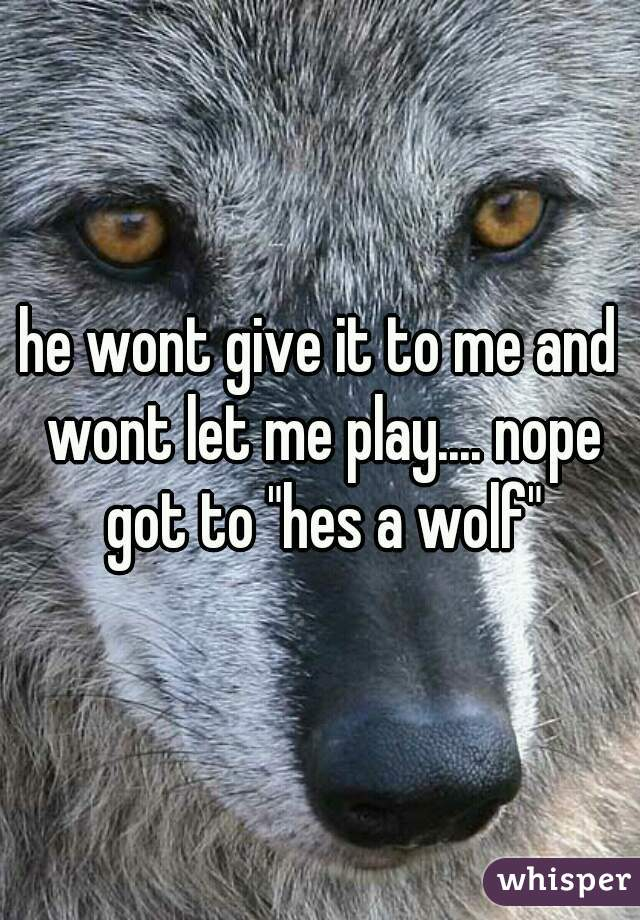"he wont give it to me and wont let me play.... nope got to ""hes a wolf"""