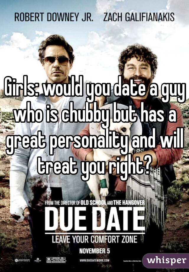Girls: would you date a guy who is chubby but has a great personality and will treat you right?