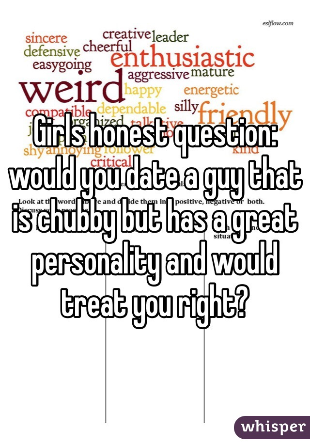 Girls honest question: would you date a guy that is chubby but has a great personality and would treat you right?