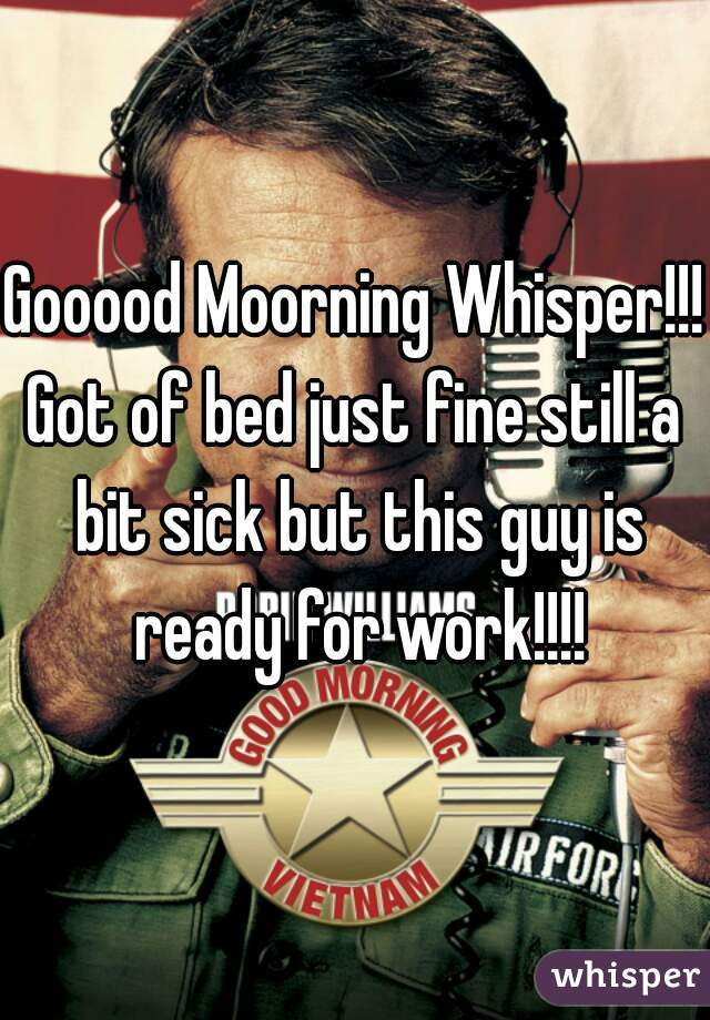 Gooood Moorning Whisper!!! Got of bed just fine still a bit sick but this guy is ready for work!!!!