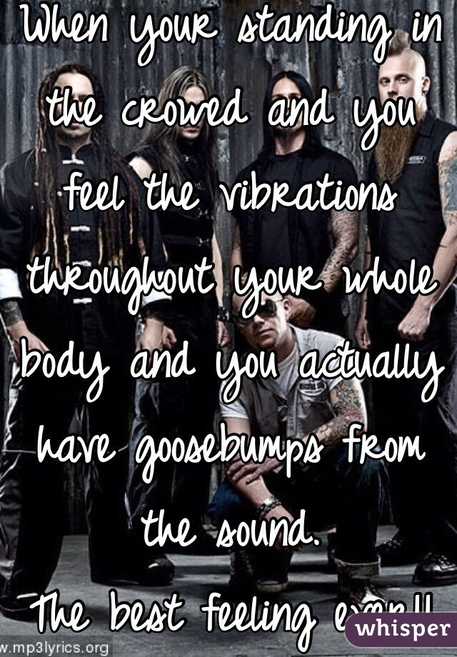 When your standing in the crowed and you feel the vibrations throughout your whole body and you actually have goosebumps from the sound.  The best feeling ever!!  FFDP ✌️