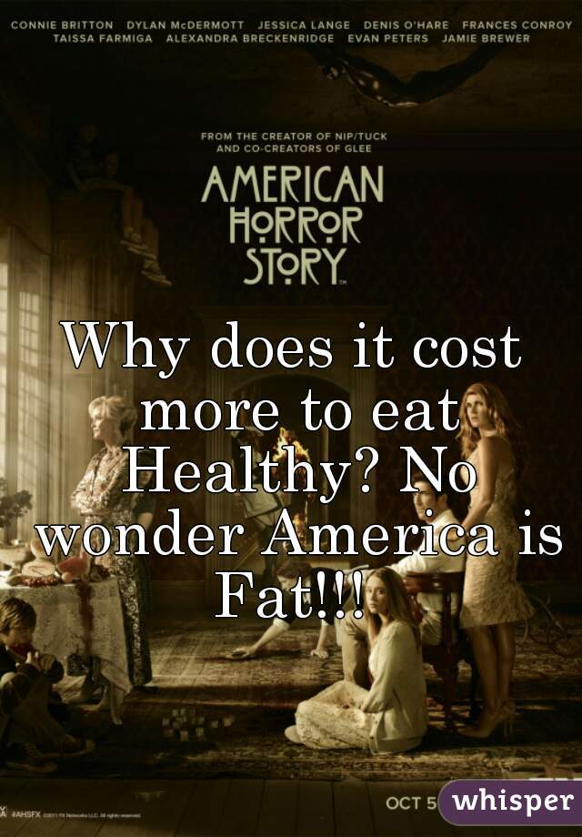 Why does it cost more to eat Healthy? No wonder America is Fat!!!