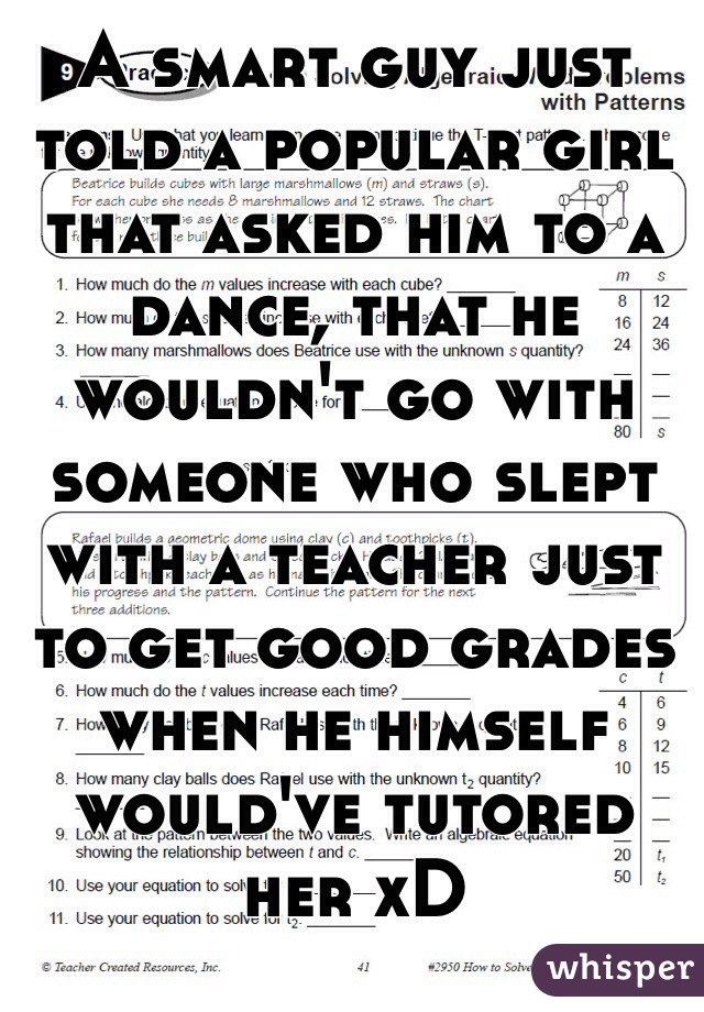 A smart guy just told a popular girl that asked him to a dance, that he wouldn't go with someone who slept with a teacher just to get good grades when he himself would've tutored her xD