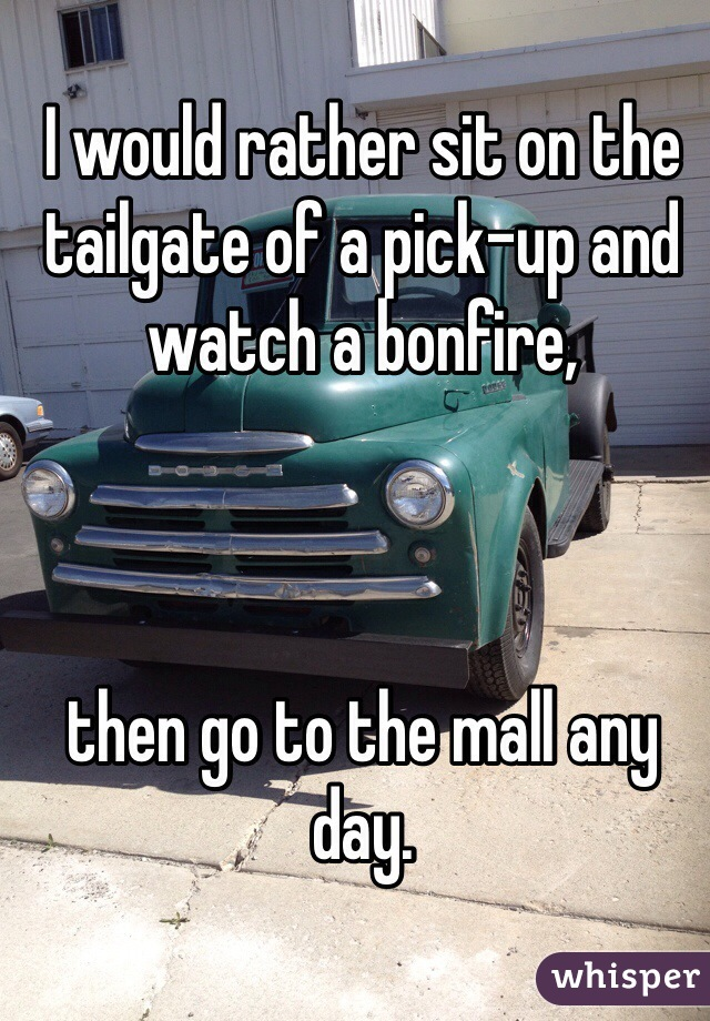 I would rather sit on the tailgate of a pick-up and watch a bonfire,    then go to the mall any day.