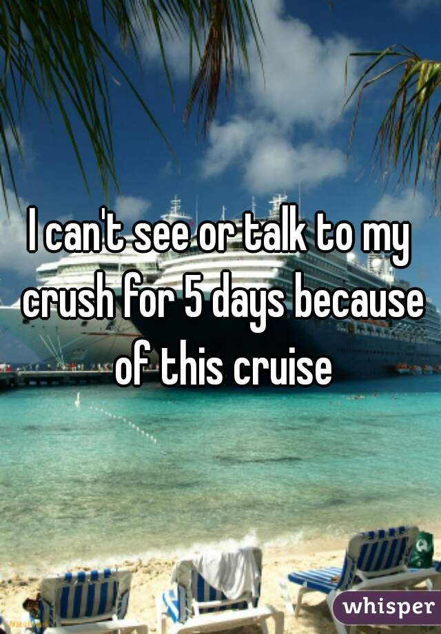 I can't see or talk to my crush for 5 days because of this cruise