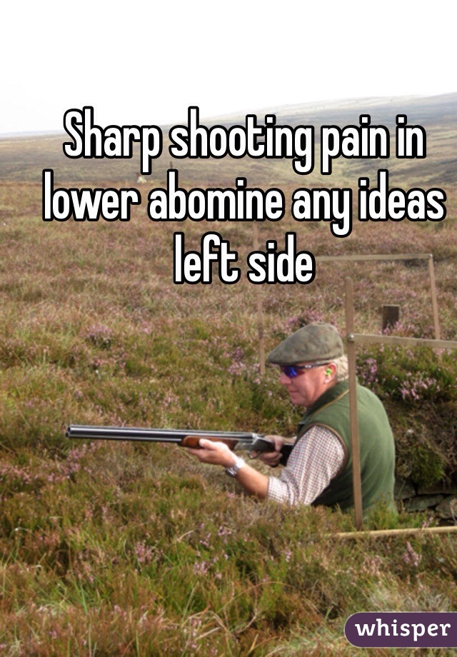 Sharp shooting pain in lower abomine any ideas left side